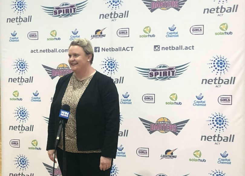 Heidi Prowse at the launch of the Netball ACT mental health app.