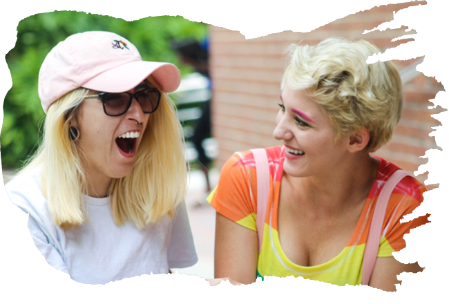 Two two women laughing together